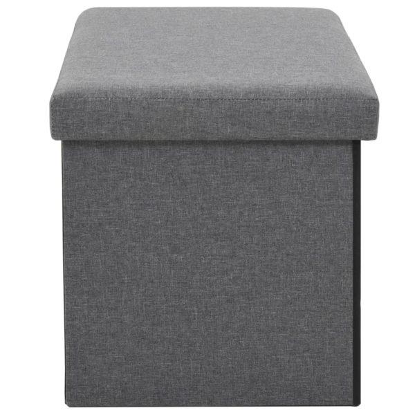 Faltbare Sitzbank Leinenoptik 76×38×38 cm Dunkelgrau