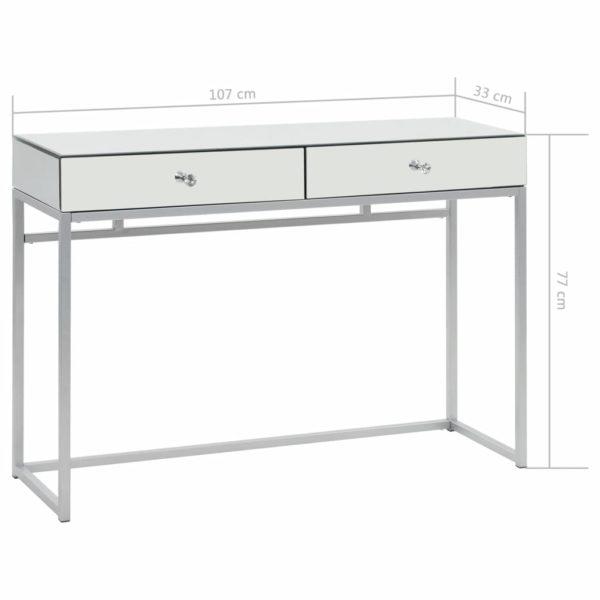 Verspiegelter Konsolentisch aus Stahl und Glas 107x33x77 cm
