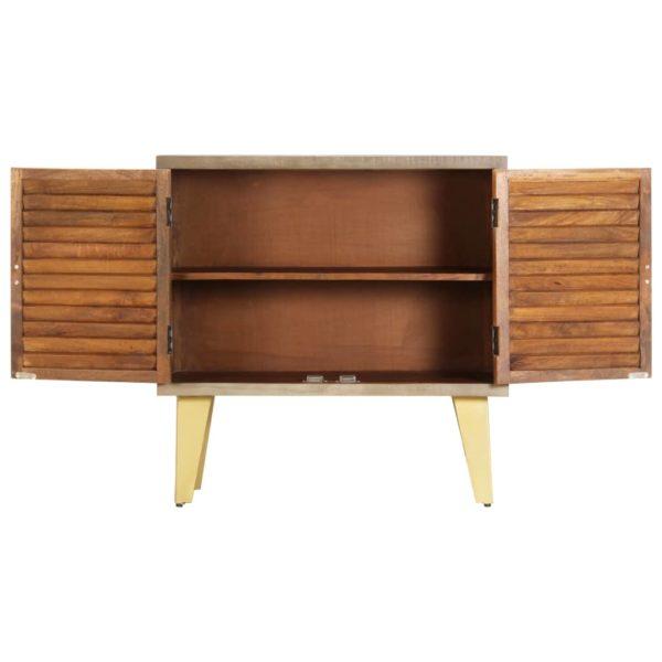 Sideboard 80 x 35 x 80 cm Massivholz Mango und Gusseisen