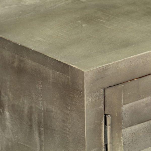 TV-Schrank Grau mit Messing 110 x 30 x 48 cm Mangoholz Massiv