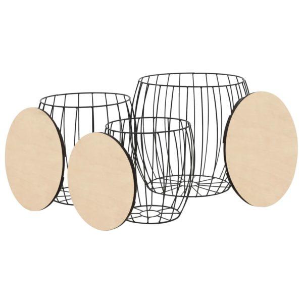 Couchtisch-Set 3-tlg. Pappelsperrholz Eisen