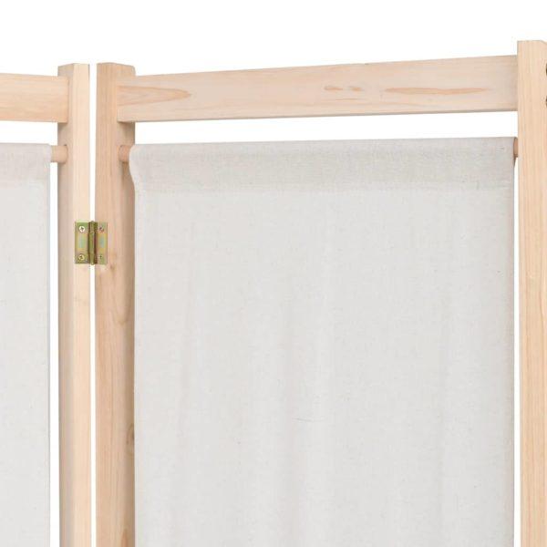 5-teiliger Raumteiler Creme 200 x 170 x 4 cm Stoff
