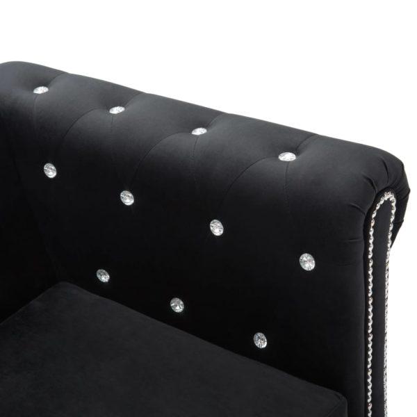 Chesterfield Sofa 3-Sitzer Samtbezug 199x75x72cm Schwarz
