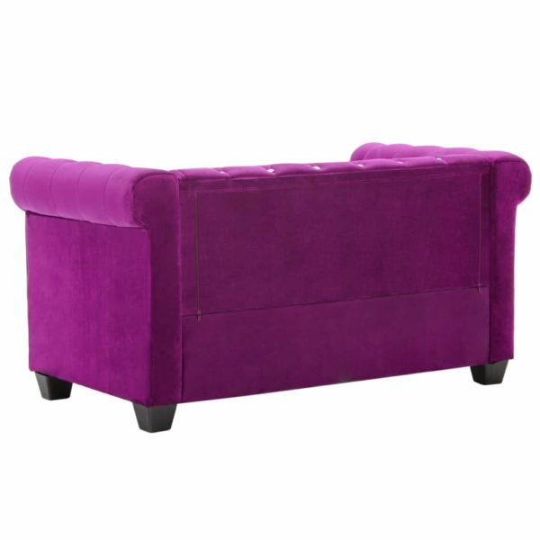 Chesterfield Sofa 2-Sitzer Samtbezug 146 x 75 x 72 cm Lila