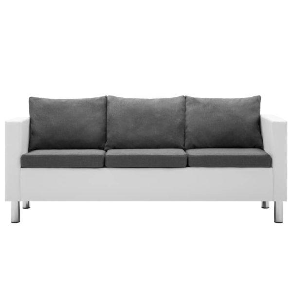 3-Sitzer-Sofa Kunstleder Weiß und Hellgrau