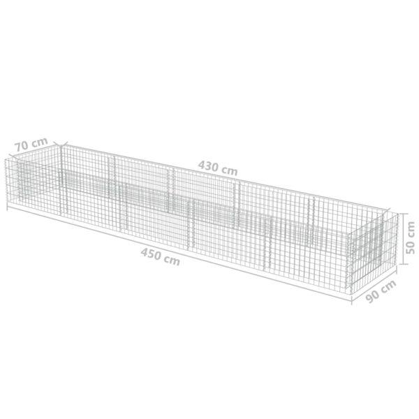 Gabionen-Hochbeet Verzinkter Stahl 450×90×50 cm