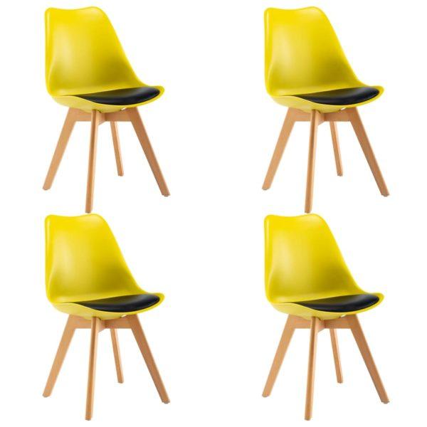 Esszimmerstühle 4 Stk. Gelb und Schwarz Kunstleder