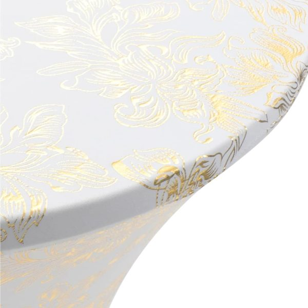 2 Stück Stretch-Tischdecken Weiß mit goldenem Druck 60 cm