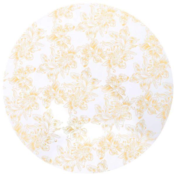 2 Stück Stretch-Tischdecken Weiß mit goldenem Druck 80 cm