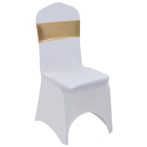 25 Stk. Dehnbare Stuhlbänder mit Diamantenschnalle Golden