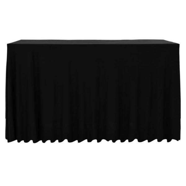 2 Stück Stretch-Tischdecken mit Rand Schwarz 183 x 76 x 74 cm