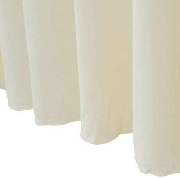 2 Stück Tischdecken mit Rand Stretch Creme 120 x 60,5 x 74 cm