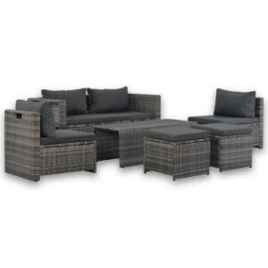 6-tlg. Garten-Lounge-Set mit Polstern Poly Rattan Grau