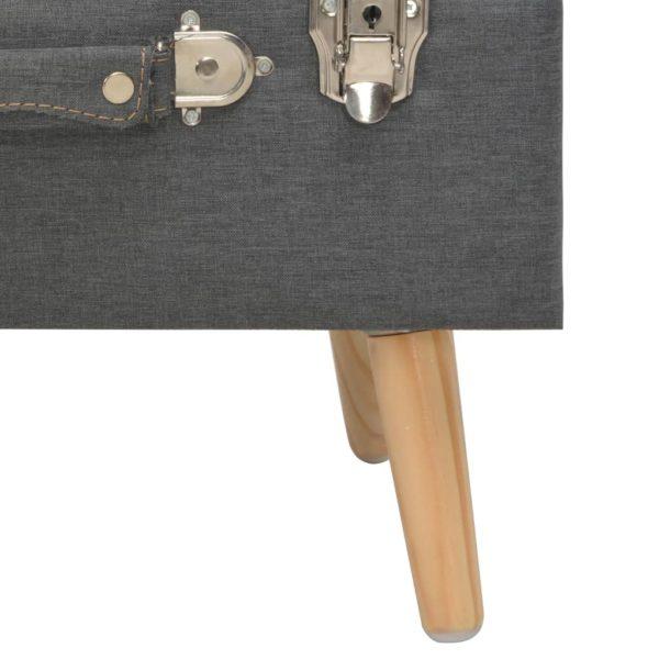 Hocker mit Stauraum 40 cm Dunkelgrau Stoff