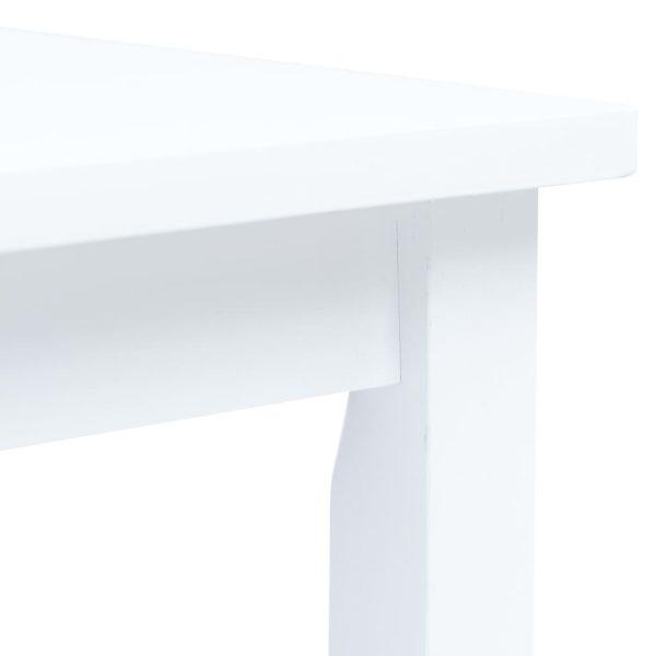 Esstisch Weiß 114x71x75 cm Gummiholz Massiv