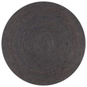 Teppich Handgefertigt Jute Rund 120 cm Dunkelgrau