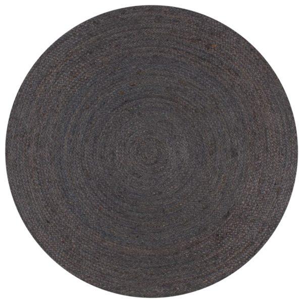 Teppich Handgefertigt Jute Rund 150 cm Dunkelgrau