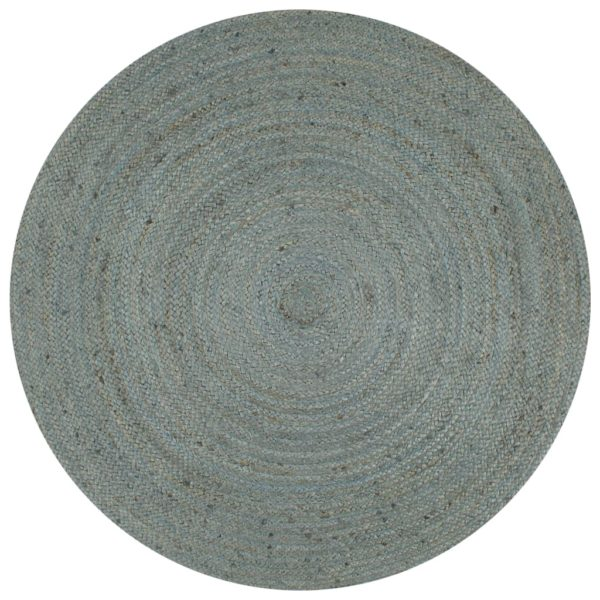 Teppich Handgefertigt Jute Rund 150 cm Olivgrün