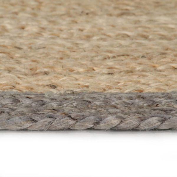 Teppich Handgefertigt Jute mit Grauem Rand 120 cm