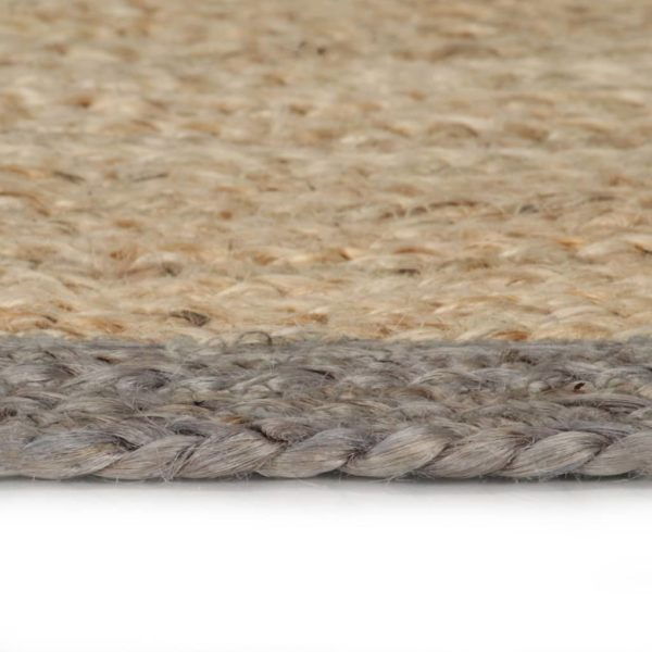 Teppich Handgefertigt Jute mit Grauem Rand 150 cm