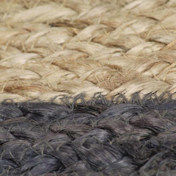 Teppich Handgefertigt Jute mit Dunkelgrauem Rand 120 cm