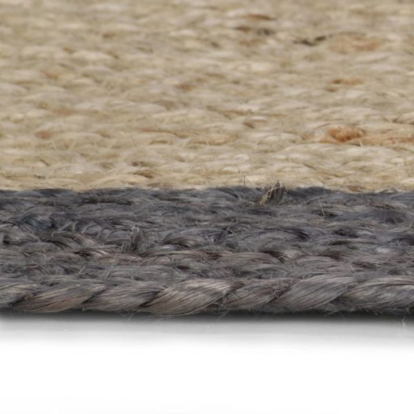 Teppich Handgefertigt Jute mit Dunkelgrauem Rand 150 cm