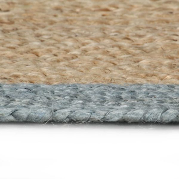 Teppich Handgefertigt Jute mit Olivgrünem Rand 150 cm