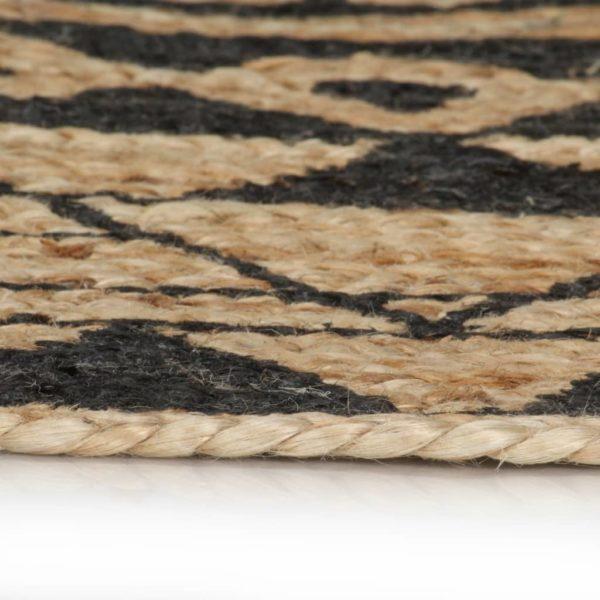 Teppich Handgefertigt Jute mit Schwarzem Aufdruck 90 cm