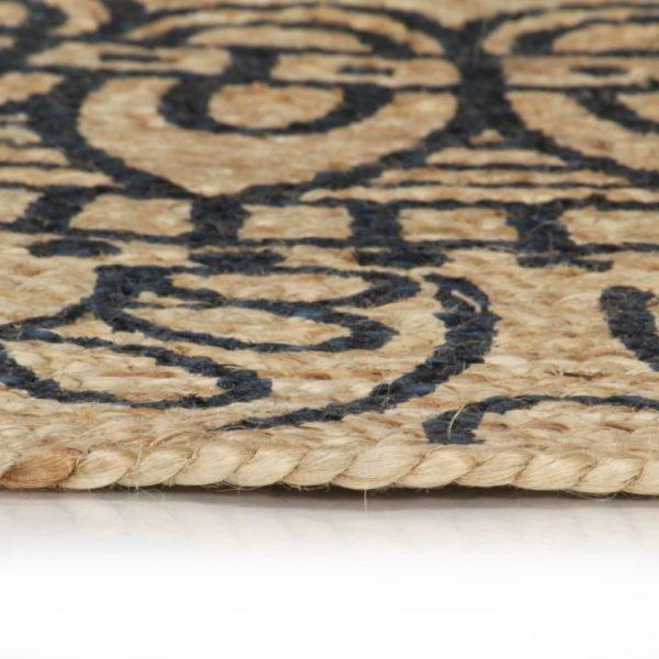 Teppich Handgefertigt Jute mit Dunkelblauem Aufdruck 120 cm