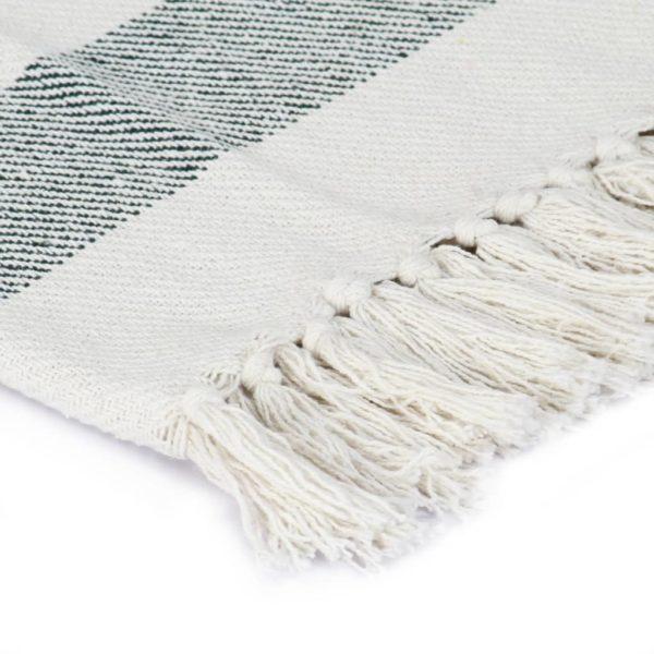 Überwurf Baumwolle Streifen 160×210 cm Dunkelgrün