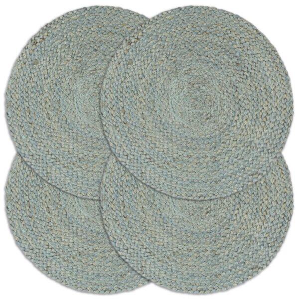 Tischsets 4 Stk. Uni Olivgrün 38 cm Rund Jute