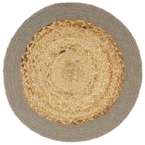 Tischsets 4 Stk. Natur und Grau 38 cm Jute und Baumwolle