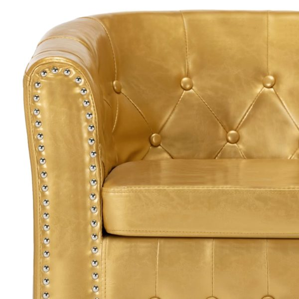 Sessel mit Fußhocker Glänzendes Golden Kunstleder