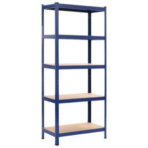 Lagerregal Blau 80 x 40 x 180 cm Stahl und MDF
