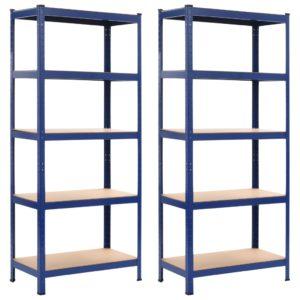 Lagerregale 2 Stk. Blau 80 x 40 x 180 cm Stahl und MDF