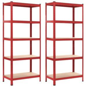 Lagerregale 2 Stk. Rot 80 x 40 x 180 cm Stahl und MDF