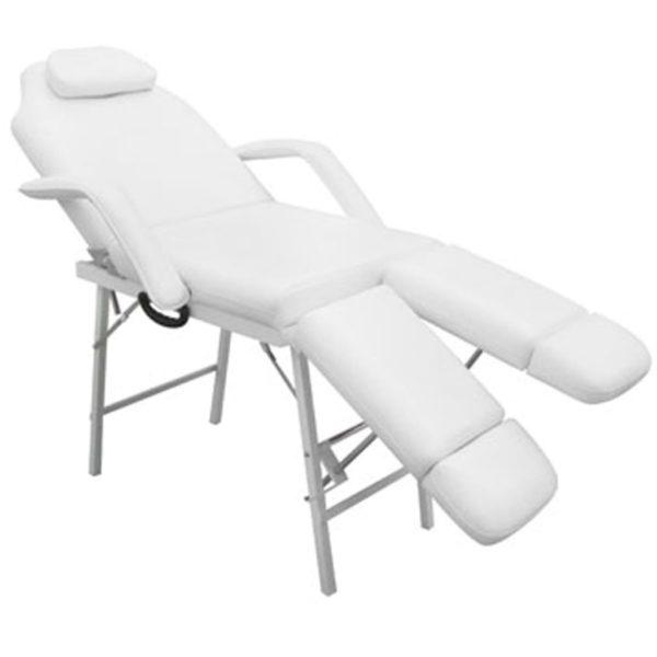 Kosmetikstuhl Tragbar Kunstleder 185×78×76 cm Weiß