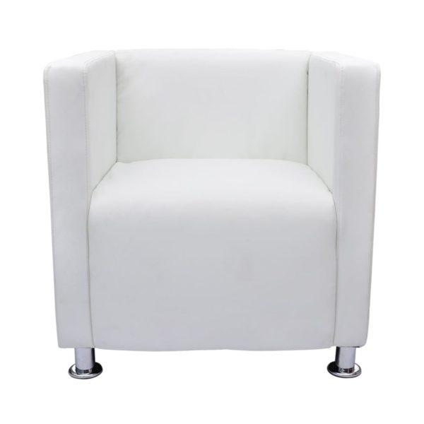 Sessel im Würfel-Design Kunstleder Weiß