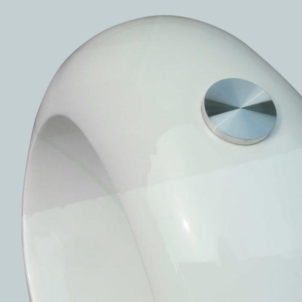 Couchtisch mit ovaler Glasplatte Hochglanz Weiß