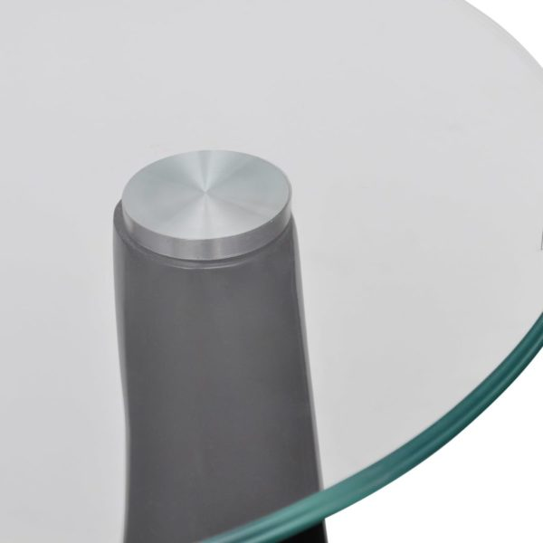 Beistelltisch mit runder Glasplatte Hochglanz Schwarz