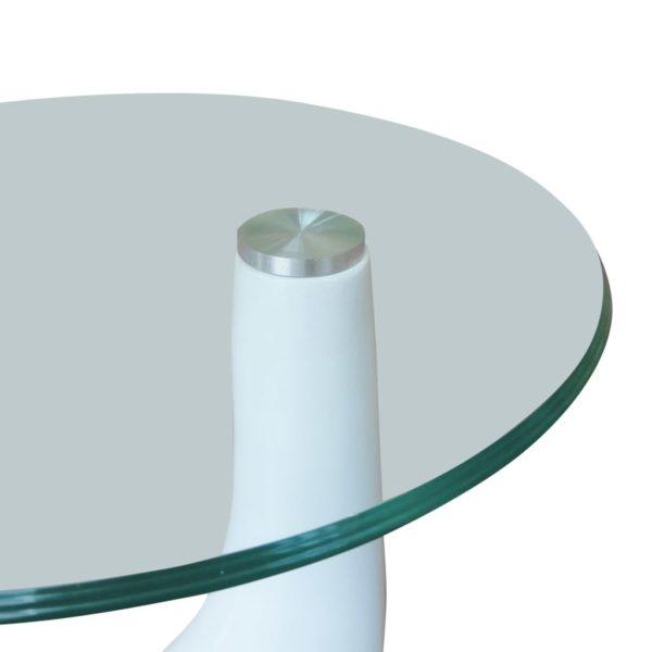 Beistelltische mit runder Glasplatte 2 Stk. Hochglanz Weiß