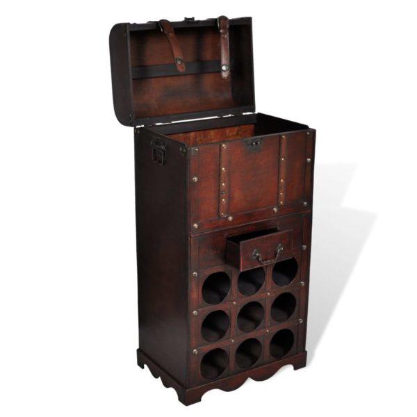 Holz-Flaschenregal für 9 Flaschen mit Aufbewahrungstruhe