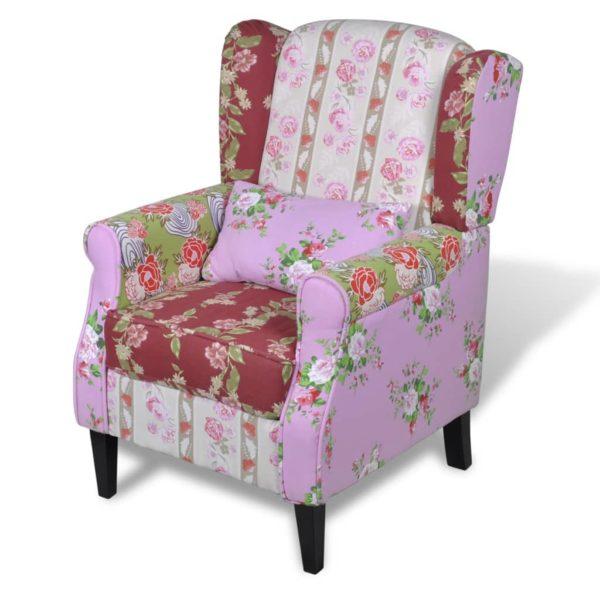 Französischer Sessel mit Patchwork-Design Stoff