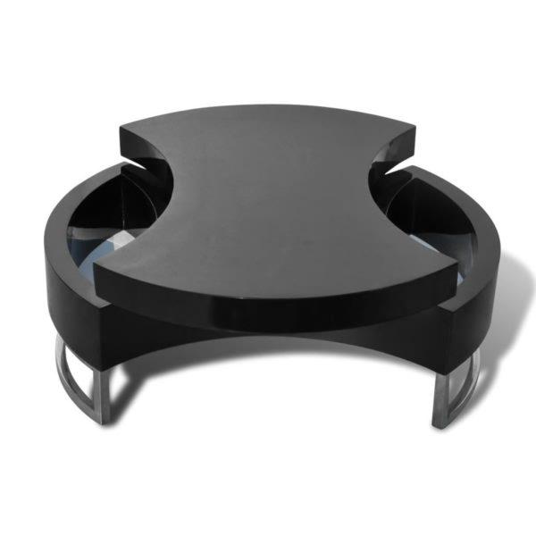 Couchtisch Form-Verstellbar Hochglanz Schwarz