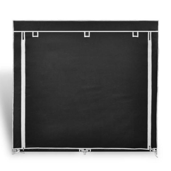 Stoff Schuhschrank mit Abdeckung 115 x 28 x 110 cm Schwarz