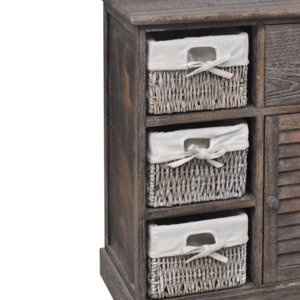 Holzschränkchen mit 3 Flechtkörben Braun