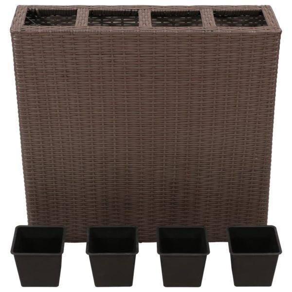 Garten-Hochbeet mit 4 Töpfen Poly Rattan Braun