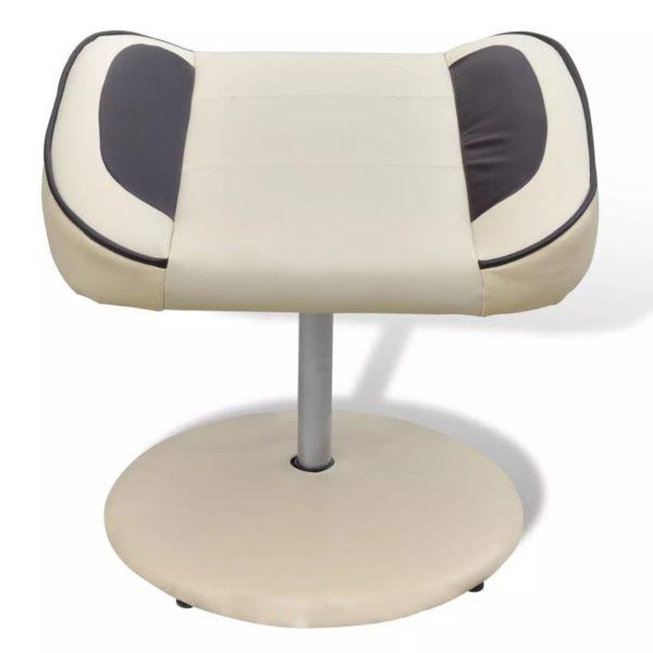 Sessel mit Fußhocker Cremeweiß Kunstleder