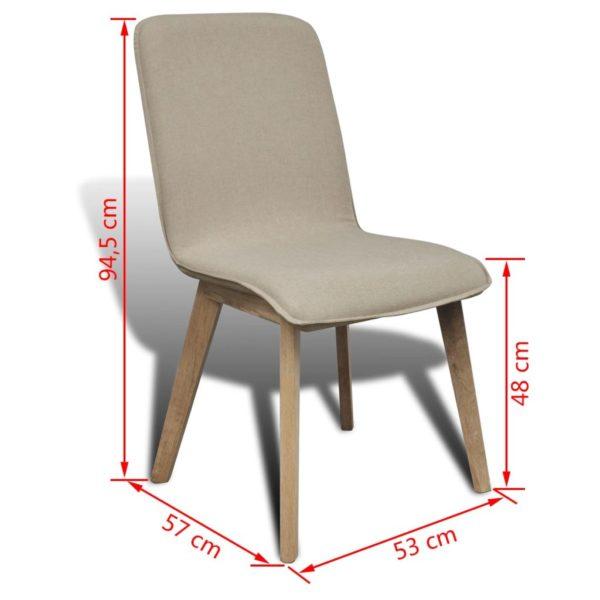 Esszimmerstühle 6 Stk. Beige Stoff und Massivholz Eiche