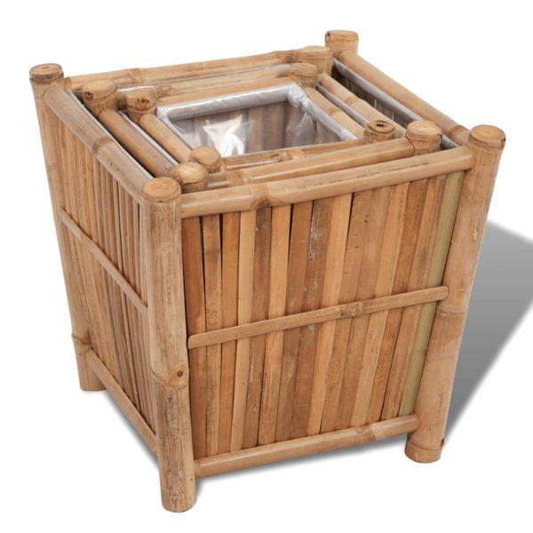 3-tlg. Bambus-Hochbeet mit Nylonfutter